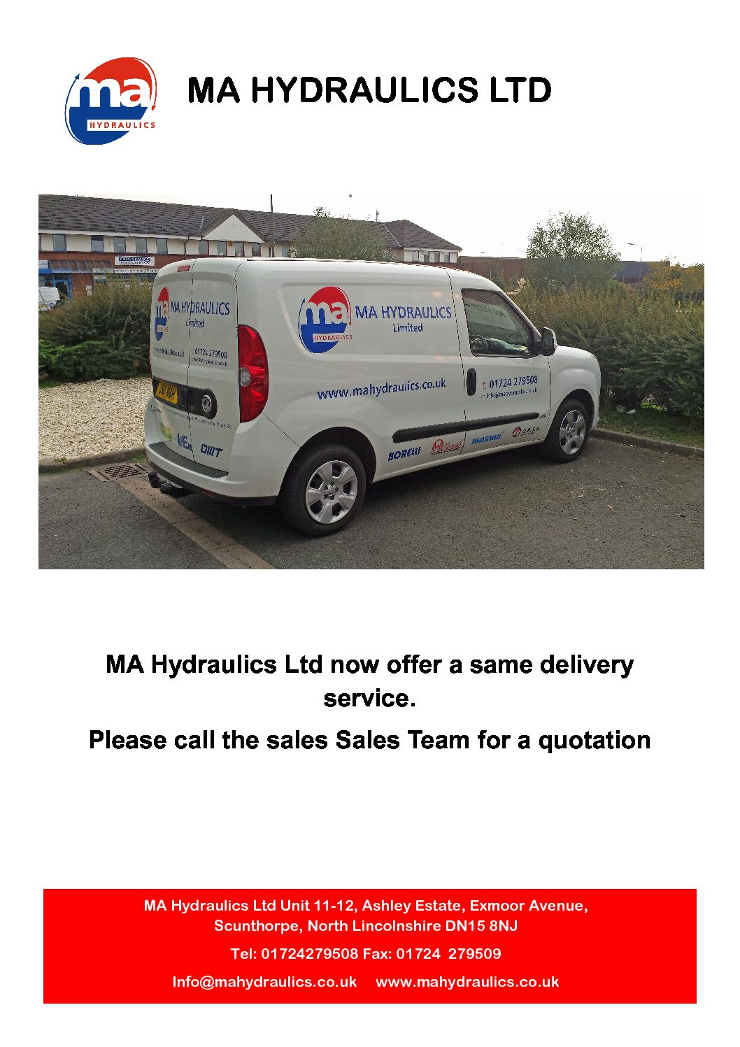 MA Hydraulics Ltd offer a same Day Delivery Service