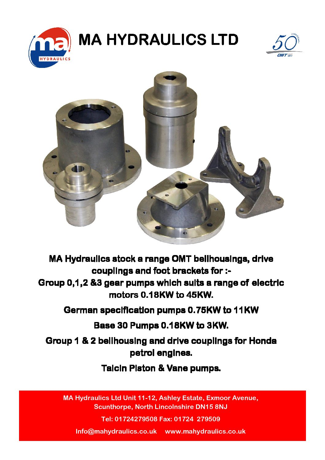 MA Hydraulics Ltd Stock a range of OMT Bellhousings and Couplings