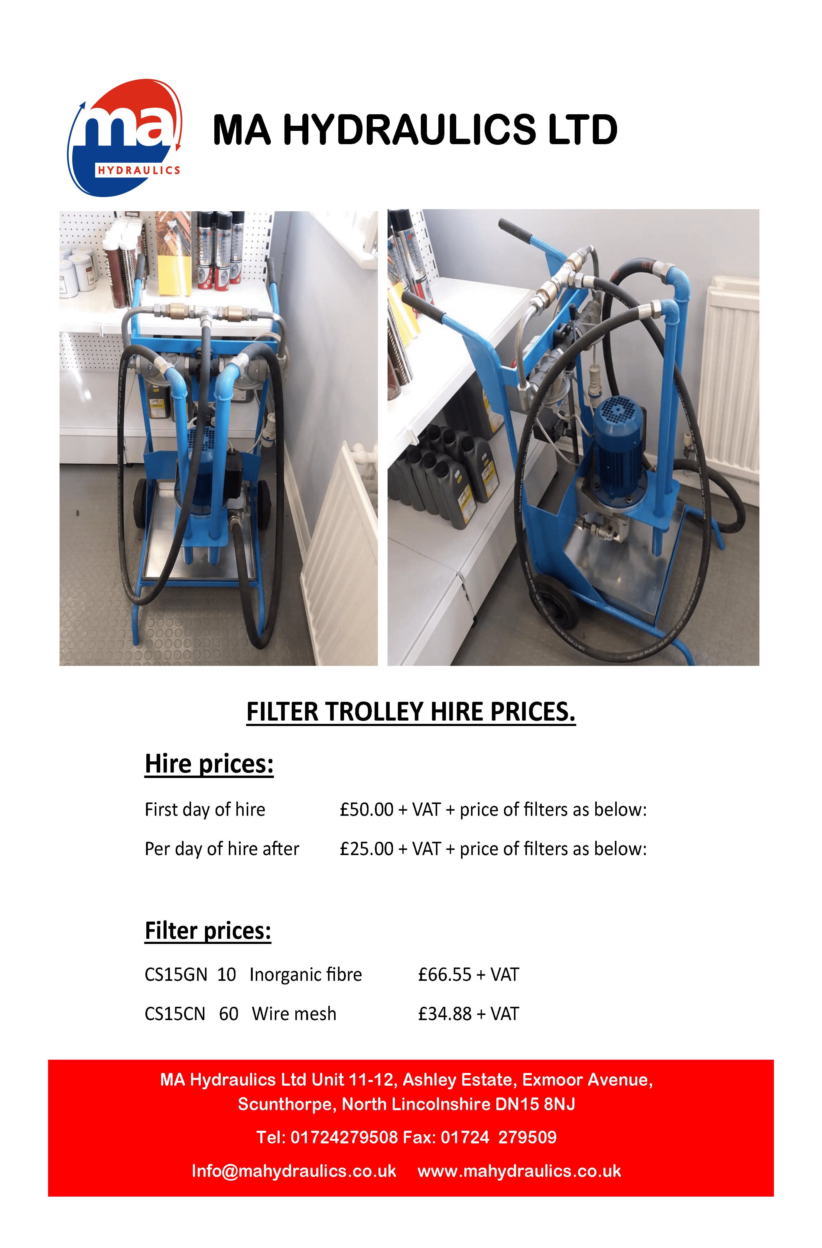 MA Hydraulics Ltd now have a filter trolley for hire